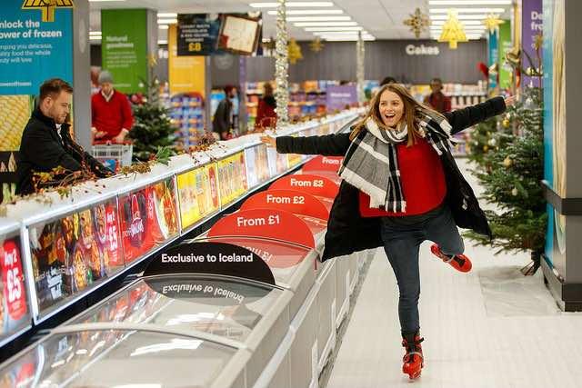 supermercato con pista di pattinaggio