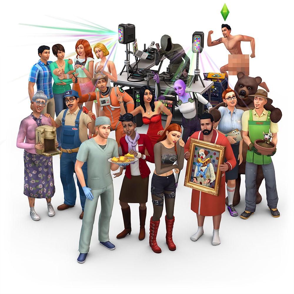 Alcuni personaggi di The Sims. Artlang in questione è lo Simlish