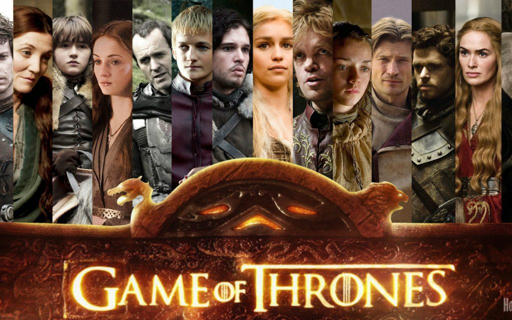 Collage contenente tutti i personaggio della famosa serie tv Game of Thrones. L'Artlang in questione è la linga Valyriana